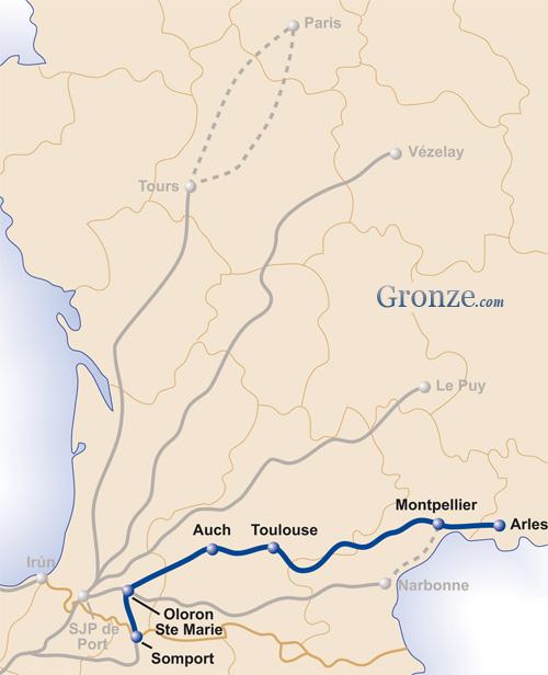 Mapa Camino Arles Santiago