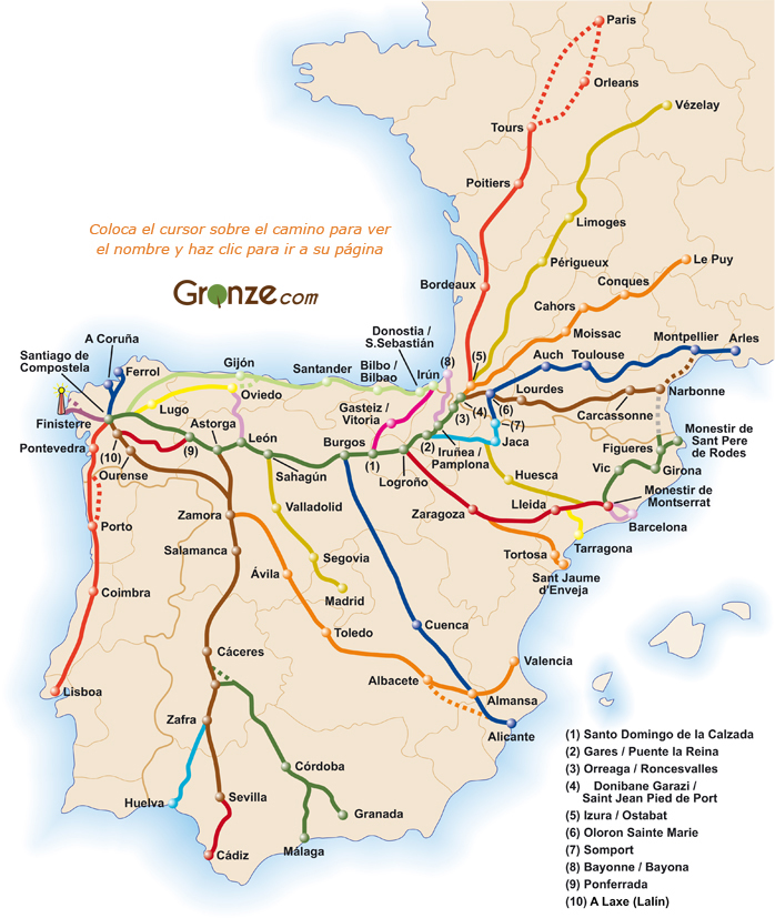 Mapa Caminos Santiago