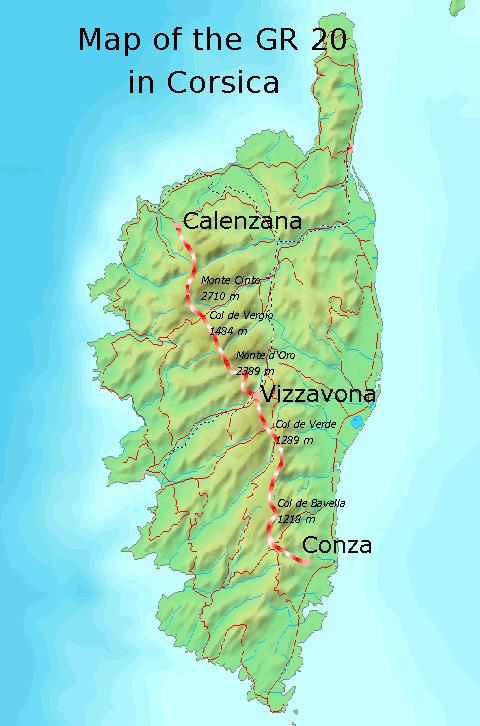Mapa ruta GR 20 Travesía de Córcega