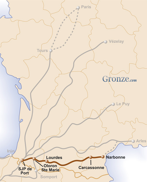 Mapa Camino Piamonte Santiago
