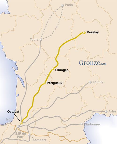 Mapa Camino Vézelay Santiago