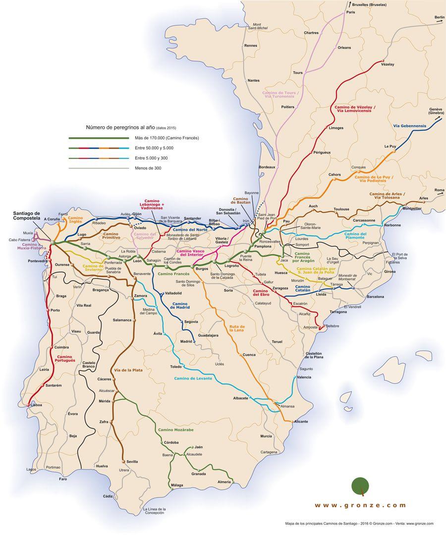 Poster-Mapa de todos los Caminos de Santiago