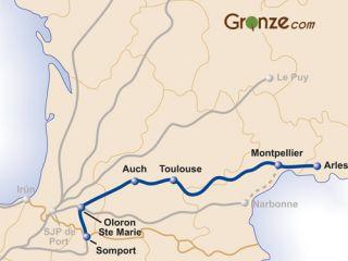 Mapa del Camino de Arles - Vía Tolosana