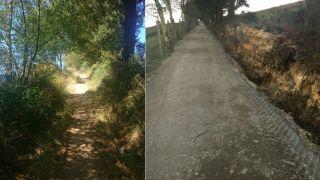 Un tramo del Camino Primitivo, en el concello de A Fonsagrada, antes y después de la intervención (Foto: Foro del Camino Primitivo)
