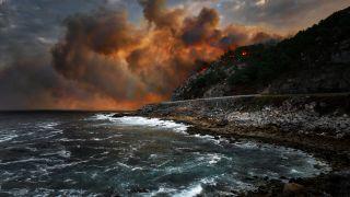 Incendio de Baiona, afectando el Camino Portugués de la Costa (Foto: León F. Cabeiro - Flickr)
