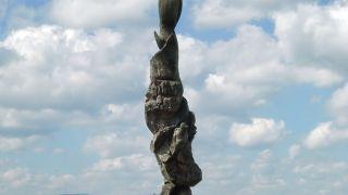 Escultura a la entrada de Saugues