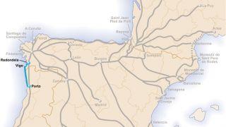 Mapa del Camino Portugués de la costa