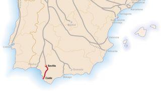 Mapa de la Vía Augusta de Cádiz a Sevilla