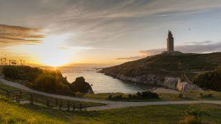 Torre de Hércules al atardecer, A Coruña