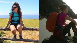 Noelia (Woman to Santiago) en el Camino del Norte, y Nieves (El Clímax del Caminante) contemplando el océano en Fisterra