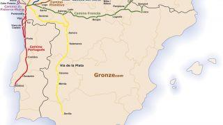Mapa de los principales Caminos de Santiago