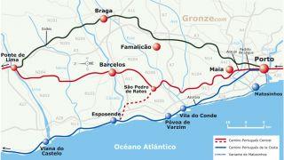 Mapa de los Caminos de Santiago desde Porto