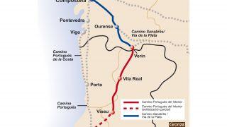 Mapa del Camino Portugués del Interior