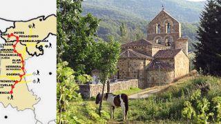 Izda.: Croquis del Camino Lebaniego-Castellano (fuente: Fundación Camino Lebaniego). / dcha.: Iglesia de San Salvador de Cantamuda.