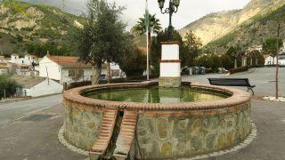 Pilón y alberca en el pueblo de Olivares