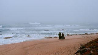 Pescadores en la playa de Póvoa de Varzim