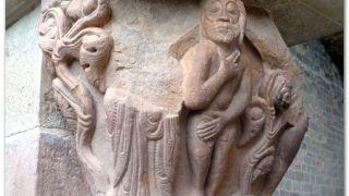 Detalle de un capitel del claustro de San Juan de la Peña