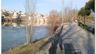 Caminando hacia el puente medieval sobre el río Duero, Zamora
