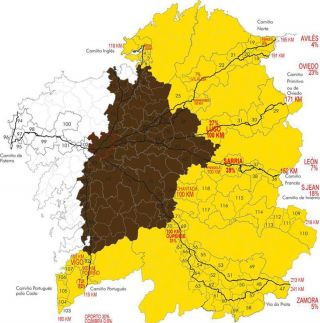 Mapa con el impacto de los 100 km en Galicia (elaboración: Fraternidad Internacional del Camino de Santiago)