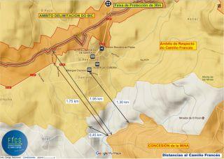 Mapa en el que figuran el Camino, con su ámbito protegido, y parte de la concesión minera (FICS)