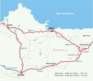 Mapa esquemático del Camino del Norte por Gijón y por Oviedo