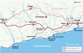 Mapa de los Caminos Portugueses desde Porto