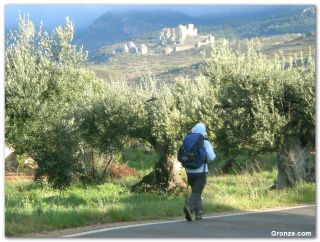 Peregrina hacia el castillo de Loarre