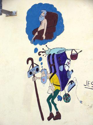 El famoso grafiti naif de Cardeñuela Riopico (Burgos)