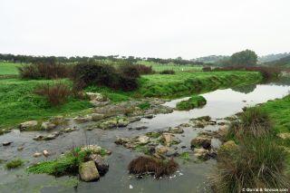 Cruzando el cauce del río Bodión