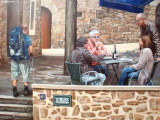 Curioso dibujo de un peregrino y lugareños en Chavanay
