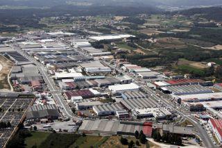 Vista aérea del Polígono do Tambre (Santiago), que atraviesa el Camino Inglés
