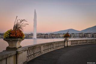 Lago Lemán y el Jet d'Eau (chorro de agua), Genève