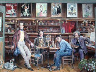 Artistas bebiendo absenta, fresco en una calle de Le Grand-Lemps