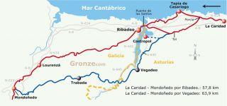 Mapa esquemático del Camino del Norte por Ribadeo y por Vegadeo