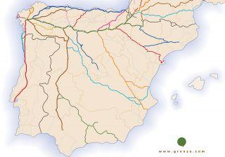 Red de Caminos de Santiago en la Península Ibérica