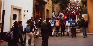 Peregrinos y turistas en Sarria