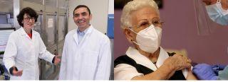 Los fundadores de BioNTech, Özlem Türeci y Uğur Şahin; y la señora Araceli recibiendo la vacuna (Foto: Pepe Zamora/EFE)
