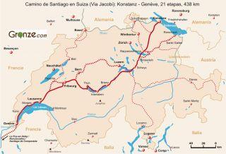Mapa del Camino de Santiago en Suiza
