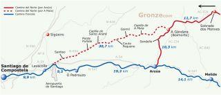El Camino del Norte tiene dos enlaces posibles con el Camino Francés.