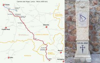 Mapa del Camino del Argar y mojón en la partida de Lorca.