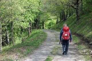 Peregrino de camino del Puech Gárde al Col de la Baraque de Bral
