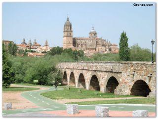Puente romano sobre el río Tormes y Catedral Vieja, Salamanca