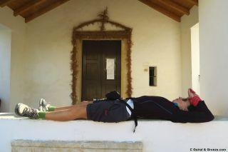 Descansando en la capilla de Senhora do Pranto